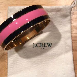 J. Crew striped pink/black wide bangle bracelet